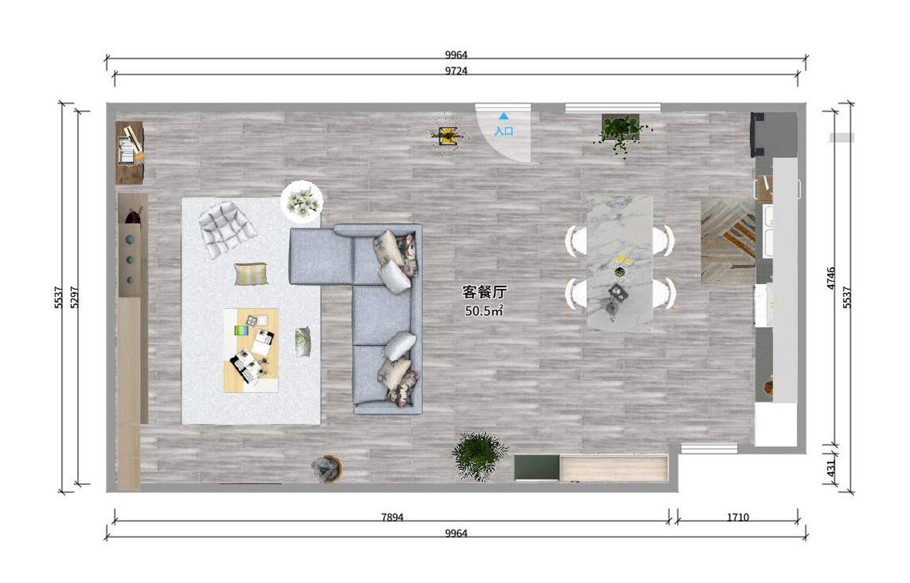 I-型号的小空间白色厨房