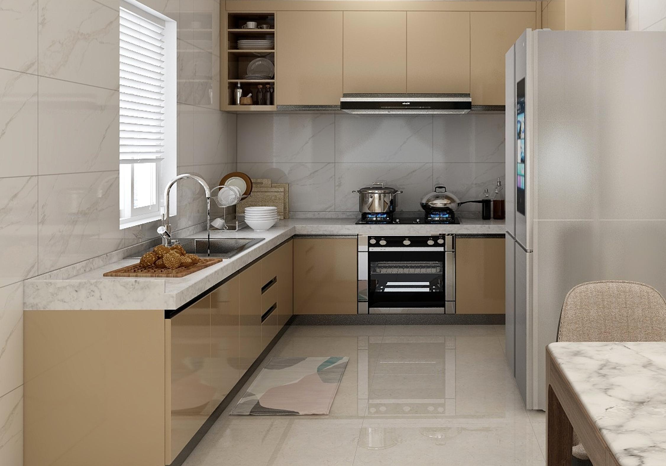 U-型的镜面厨房